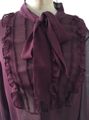 Rüschenbluse mit Schluppe, Bordeaux Rot