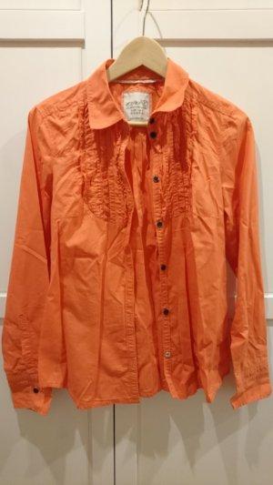 Rüschenbluse, Vintage, orange, Größe 40, Esprit