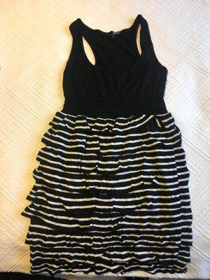 Rüschenkleid in schwarz-weiß