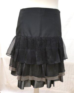 Zara Basic Tafzijde rok zwart-grijs-bruin Zijde