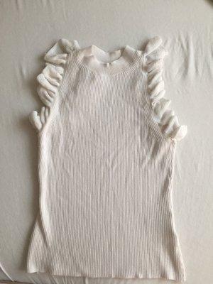 H&M Top à volants blanc-blanc cassé