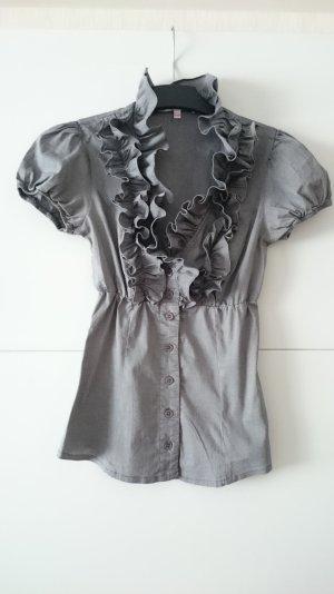 Rüsschen Bluse grau silber