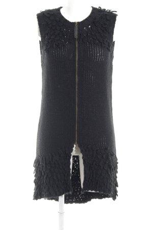 Rütme Gilet tricoté noir torsades style décontracté