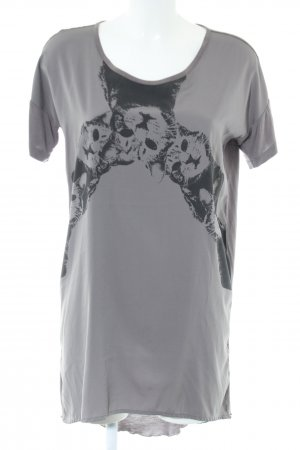 Rütme High Low Dress light grey-black animal pattern casual look