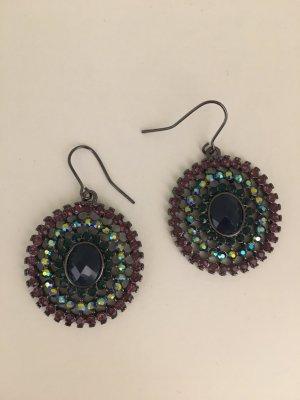 Runde Multicolor-Ohrhänger mit bunten Steinchen, neu