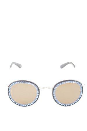 runde Sonnenbrille dunkelbraun extravaganter Stil