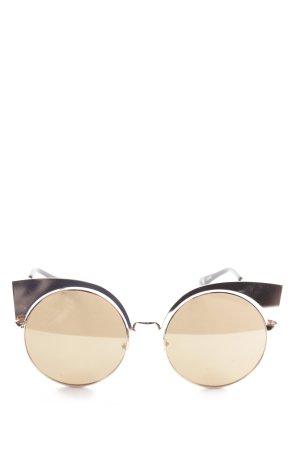 runde Sonnenbrille roségoldfarben extravaganter Stil