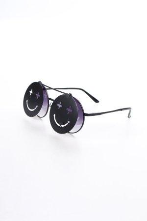 runde Sonnenbrille schwarz extravaganter Stil