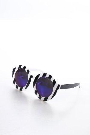 runde Sonnenbrille schwarz-weiß Streifenmuster extravaganter Stil