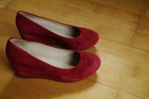 runde Vagabond Wildleder Leder Keilabsatz Größe 40 Pink rot