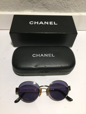 Chanel Occhiale da sole rotondo argento Metallo