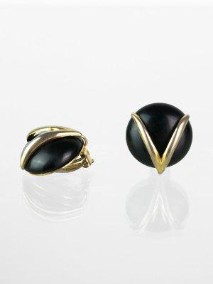 Runde Vintage Ohrclips in Schwarz-Gold