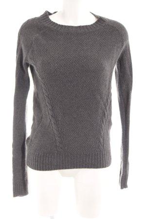 Kraagloze sweater antraciet gestippeld casual uitstraling