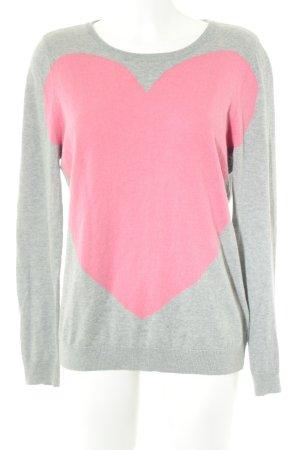 Maglione girocollo grigio-rosa Herzmuster stile casual