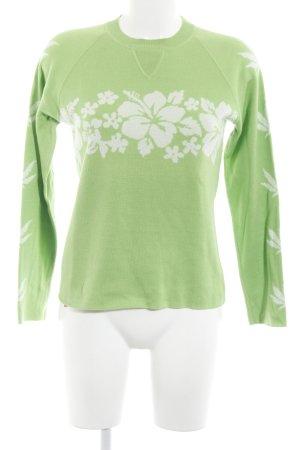 Rundhalspullover grün-wollweiß Blumenmuster Casual-Look