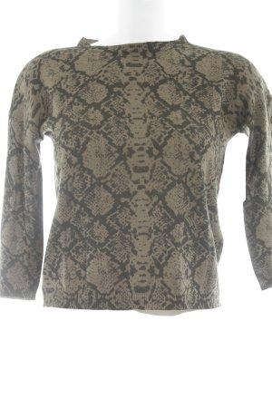 Kraagloze sweater groen-grijs-zwart dierenprint casual uitstraling