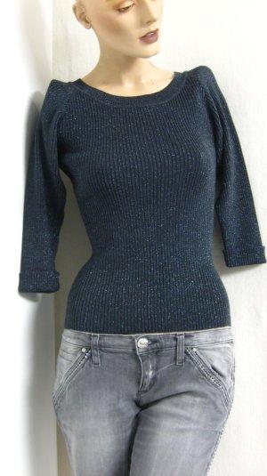 Kraagloze sweater antraciet-zilver Gemengd weefsel