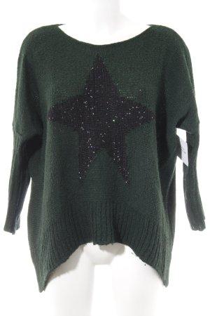 Rundhalspullover schwarz-waldgrün Sternenmuster Street-Fashion-Look