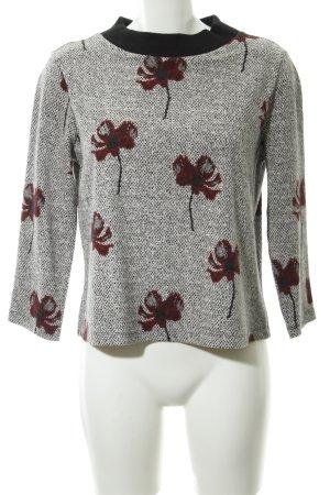 Rundhalspullover weiß-schwarz Blumenmuster Casual-Look