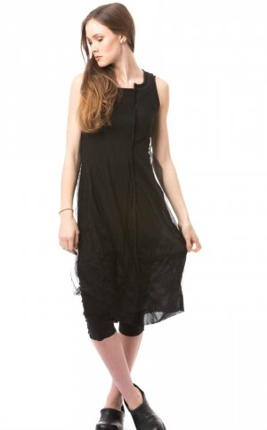 Vestido largo negro Nailon