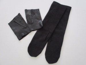 Leren handschoenen zwart-antraciet Leer