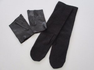 Rundholz echt Leder Handschuhe +lange Woll Stulpen Daumenloch Neu One Size