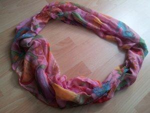 Rundschal Loop Tuch rosa bunt Viskose Handtaschen Schuhe