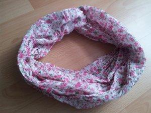Rundschal Loop Tuch Sommerschal Blumen grün weiß rosa