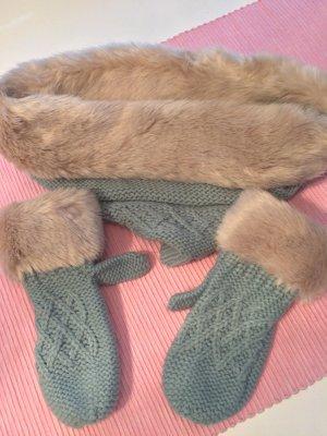 Rundschal mit Handschuhen mit Kunstfell