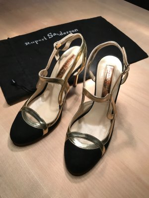 Rupert Sanderson High Heel Sandal black-gold-colored leather