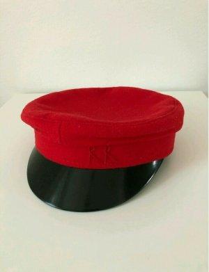 designer basics Chapeau en laine rouge-noir tissu mixte