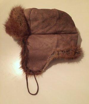 Cappello in pelliccia marrone-grigio-marrone chiaro Pelle