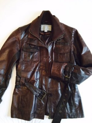 Leather Jacket cognac-coloured-dark brown leather