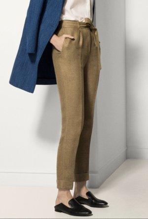 Massimo Dutti Pantalon taille haute ocre lin