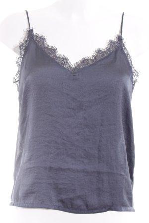 Rut & Circle Kurzarm-Bluse graublau Glanz-Optik