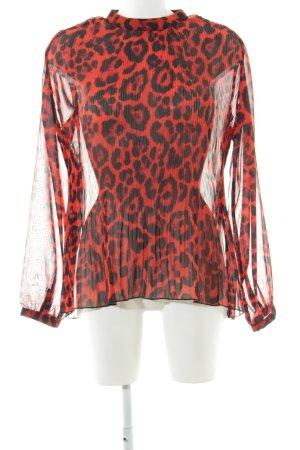 Rut & Circle Langarm-Bluse rot-schwarz Allover-Druck Elegant