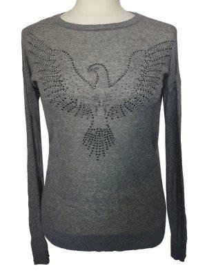 S 34 36 MANGO mit Seide zartes shirt Top Pullover grau Straß Taube tiptop