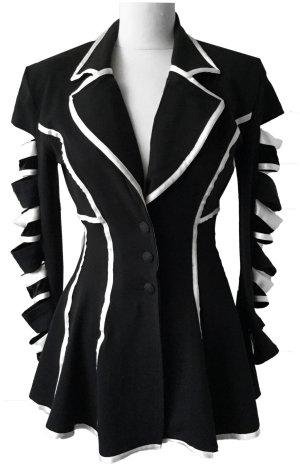 S 34 36 ROMEO POUR JULIETTE extravaganter Designer Blazer Jacke schwarz weiß tiptop