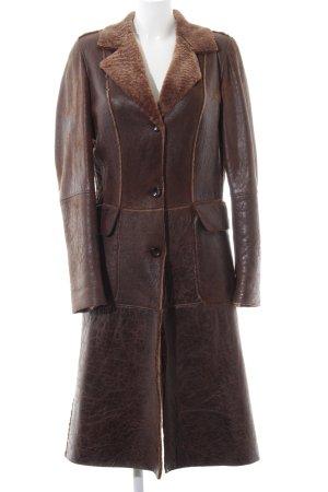 S'Egnaro Abrigo de cuero marrón look Street-Style