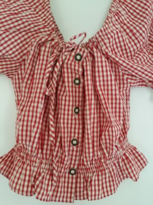 S'Landgwand Checked Blouse red-natural white cotton