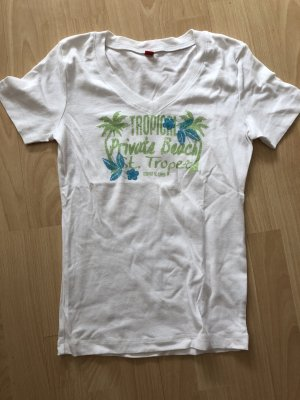 s.Oliver T-shirt col en V blanc
