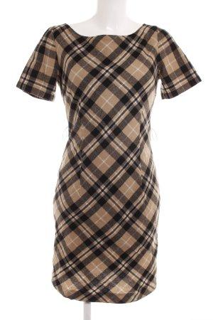 s.Oliver A-Linien Kleid schwarz-beige Karomuster Business-Look