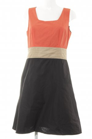 s.Oliver A-Linien Kleid schwarz-neonorange Colourblocking Casual-Look