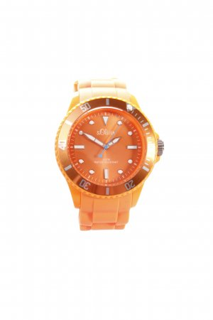 s.Oliver Analoog horloge oranje-wit atletische stijl