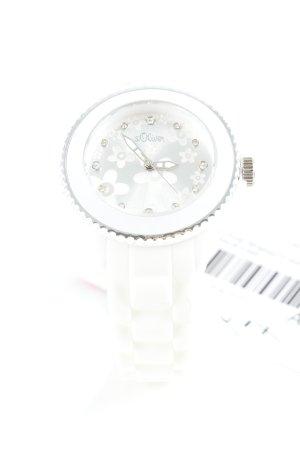 s.Oliver Analoog horloge wit bloemenprint casual uitstraling