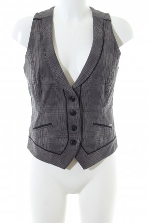 s.Oliver Waistcoat light grey-black check pattern business style