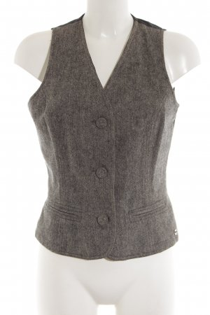 s.Oliver Waistcoat black-natural white weave pattern business style