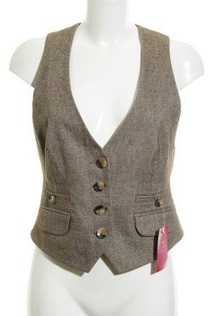 s.Oliver Chaleco de vestir marrón grisáceo-crema diseño de espiga