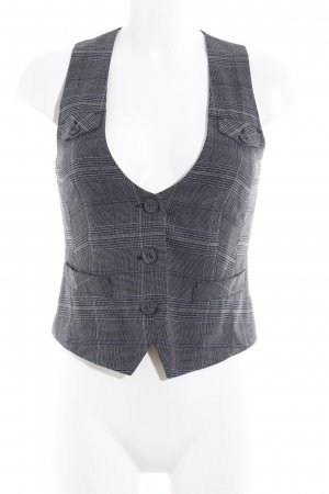 s.Oliver Waistcoat black-dark grey check pattern business style