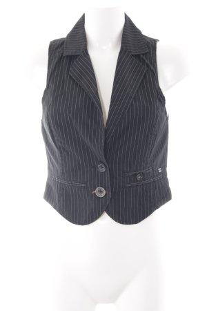 s.Oliver Waistcoat black-grey pinstripe business style